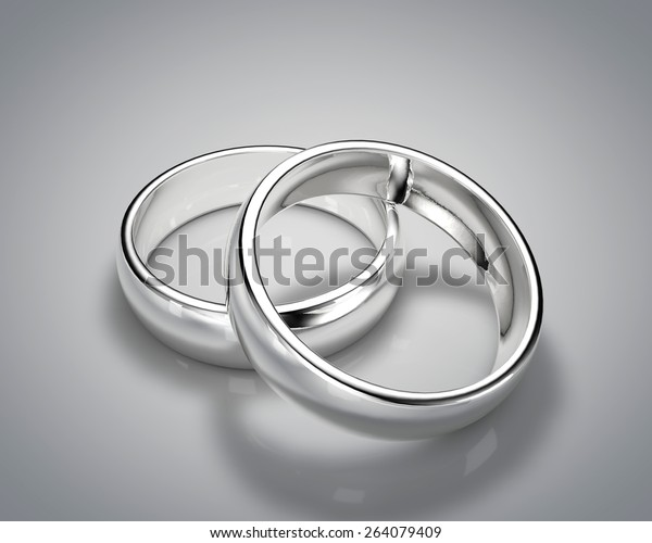 3d Drawing Realistic Silver Ring Set Stock Illustration