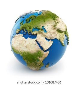 3d earth globe with embossed continents isolated on white background. Elements of this image furnished by NASA