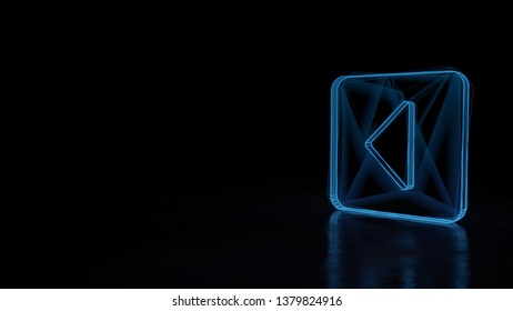 3d electric power symbol, techno neon glowing wireframe sign of caret square left isolated on black background with distorted reflection on floor