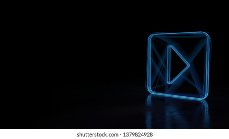 3d electric power symbol, techno neon glowing wireframe sign of caret square right isolated on black background with distorted reflection on floor