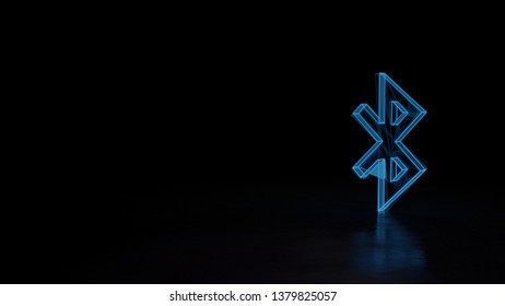 3d electric power symbol, techno neon glowing wireframe sign of bluetooth 1 isolated on black background with distorted reflection on floor