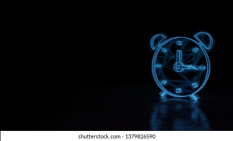 3d electric power symbol, techno neon glowing wireframe sign of alarm clock isolated on black background with distorted reflection on floor