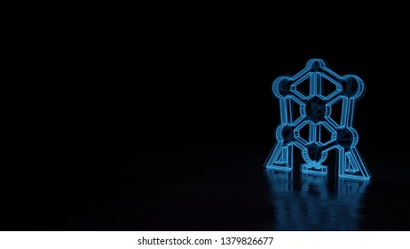 3d electric power symbol, techno neon glowing wireframe sign of atomium isolated on black background with distorted reflection on floor