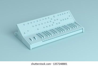 3d electronic analog synthesizer, 3d illustration.
