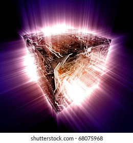 3D electronic circuit cube with energy beam of rays