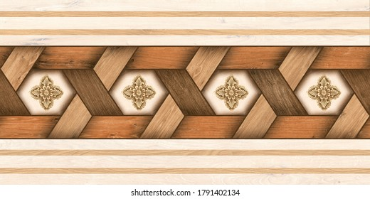 3D Elevation Wood Pattern Texture Background, 3D Random Pattern Wooden For Furniture And Office Background Used Ceramic Tiles Design