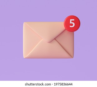 3D E-mail icon with notification, unread mail logo. 3d render illustration