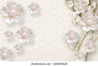 3D EMBOSS PEARL FINISH FLOWER WITH PEARL AND CREAM BACKGROUND-ILLUSTRATION