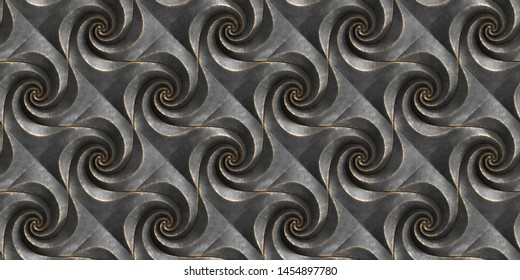 3D embossed panels of black worn cast iron and black leather. High quality seamless realistic texture.