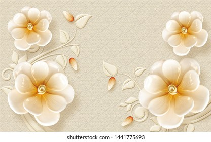 3D EMBOSSED YELLOW ORANGE FLOWER AND BACKGROUND- ILLUSTRATION