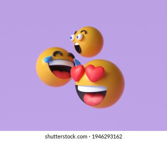 3D  Emoji and emoticon faces. Floating Emojis or emoticons with surprise, funny, and laughing isolated in purple background. 3d render illustration.