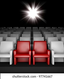 3d empty cinema hall with auditorium and two reserved seat