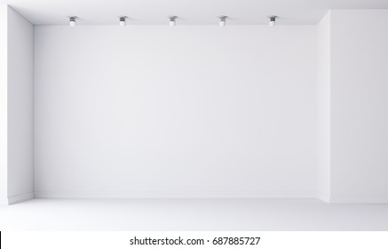 3d empty interior with white walls