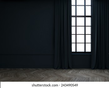 3d Empty room with curtains