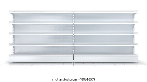 3d empty supermarket shelf isolated on white background