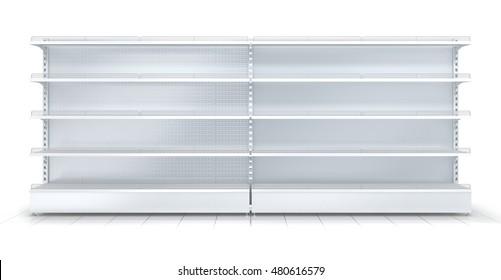 3d empty supermarket shelf isolated on white background