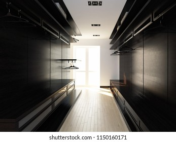 3d empty wardrobe made of dark wood