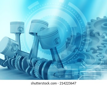 3d engine pistons and cog wheels background;