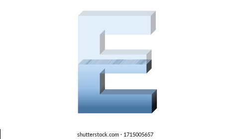 3D ENGLISH ALPHABET OF HALF FULL OF WATER FISHBOWL CUP : E