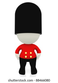 3D English guard in uniform with a hat - isolated over white