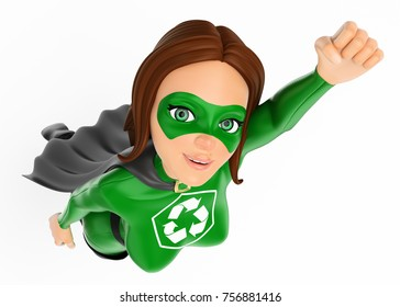 3d environment people illustration. Woman superhero of recycling flying. Isolated white background.