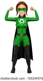 3d environment people illustration. Woman superhero of recycling showing his muscles. Isolated white background.