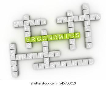 3d Ergonomics word cloud concept