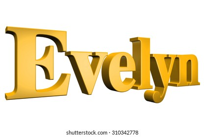 3D Evelyn text on white background