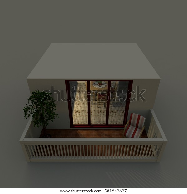 3d exterior rendering of balcony by night