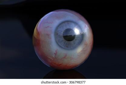 3D Eye on Black Plastic.