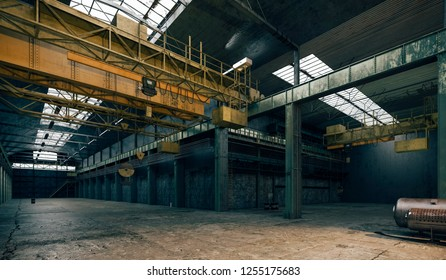3d factory interior, industrial facility