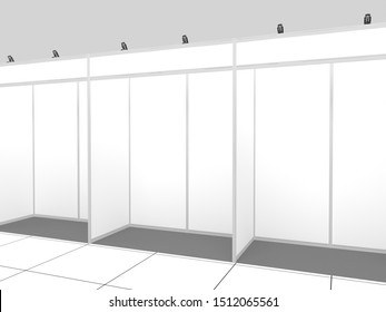 3d fair stand 2x1 sections. Ser. Exhibition interior. Simple mockup