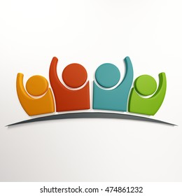 3D Family Group of People Logo. 3D Rendering illustration