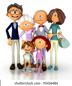 3D family looking happy - isolated over a white background