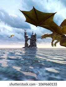 3d Fantasy dragon in mythical island,Fantasy fairy tale of sea monster,3d rendering for book cover or book illustration