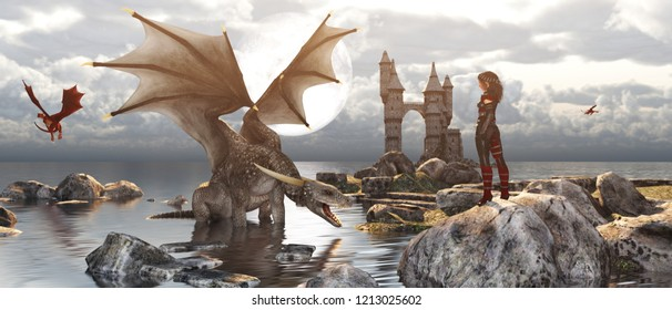 3d Fantasy dragon resting on the water with woman or dragon keeper stay on the rock in mythical island,fiction banner concept and ideas