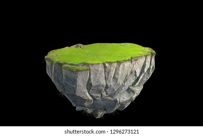 3D fantasy floating island with green grass land isolated on black, surreal float rock mountain with paradise concept 3d illustration
