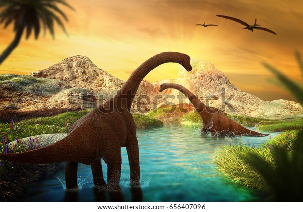 3D Fantasy Landscape with dinosaur, 3d rendered landscape with mountains