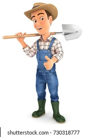 3d farmer carrying shovel on shoulder, illustration with isolated white background