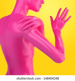 3d female torso, colorful model body shape, fashion illustration