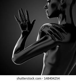 3d female torso, fashion illustration, black model body shape