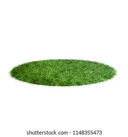 3D field of grass. Green surface isolated on white background. 3D rendering