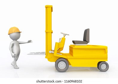 3D figure with forklift truck Computer generated 3D illustration