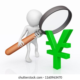 3D figure with magnifying glass and Yen sign Computer generated 3D illustration