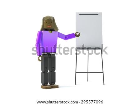 3 d figure pointing flipchart stock illustration 295577096