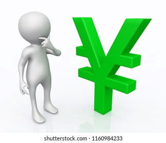 3D figure with Yen sign Computer generated 3D illustration