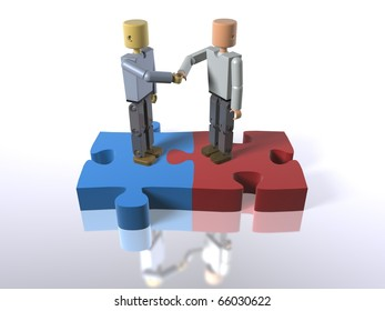 3D figures standing on jigsaw pieces shaking hands