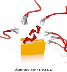 a 3d file folder with a red footprint in it isolated on white background is attacked and hacked by network cables