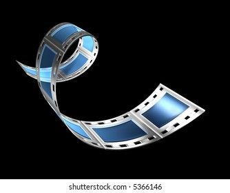 3d, filmstrip, film, strip transparent with reflection and glas