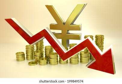 3D finance graph - currency collapse - Japanese Yen